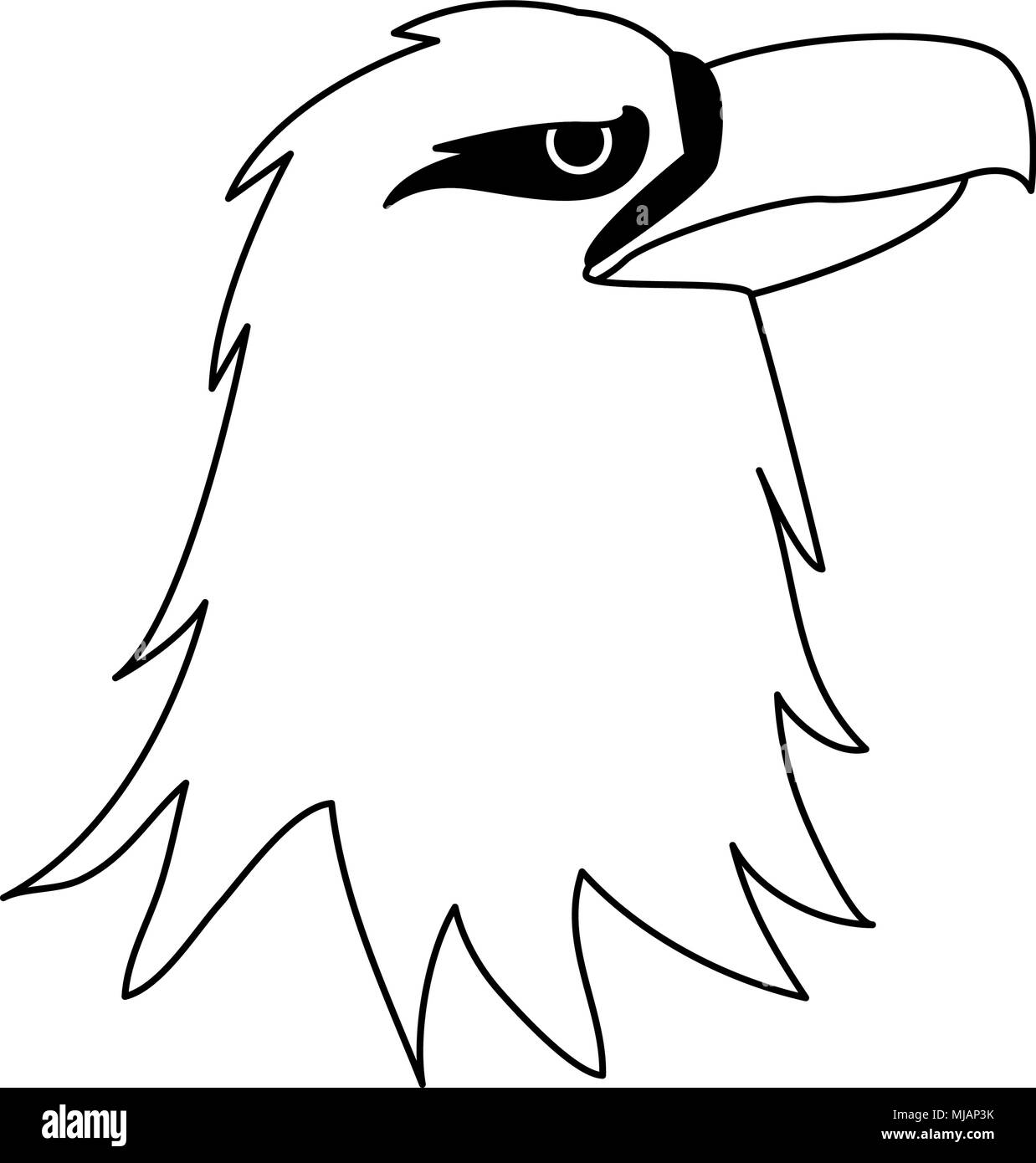 Eagle head cartoon on black and white colors stock image