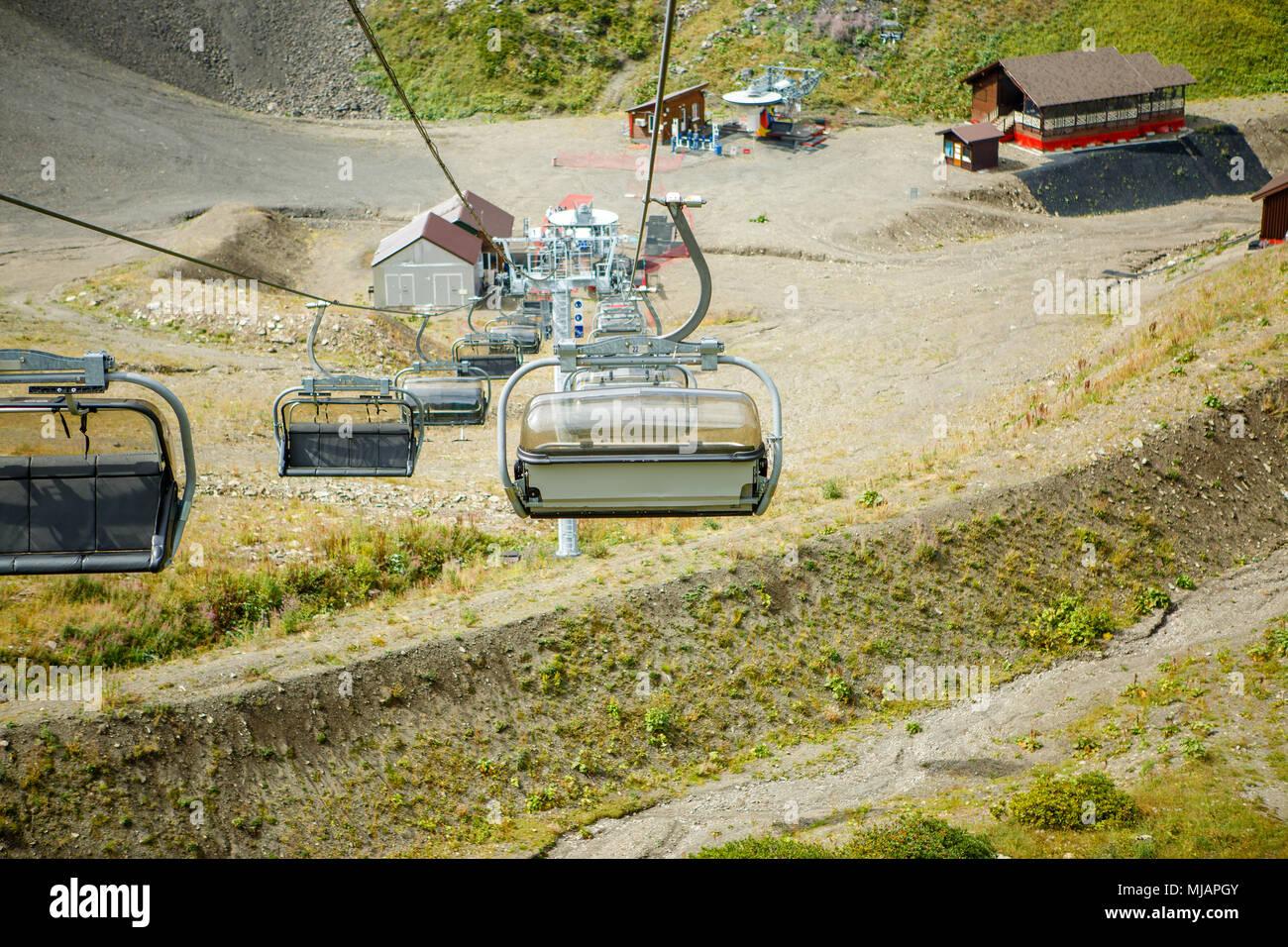 Image of funicular at mountainside - Stock Image