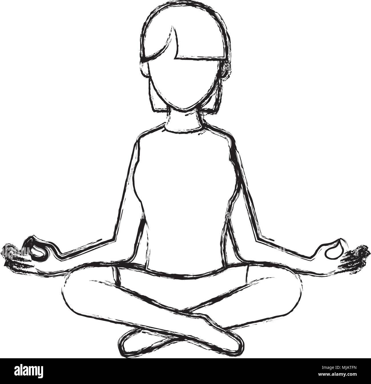 grunge woman sitting with yoga relaxation position - Stock Vector