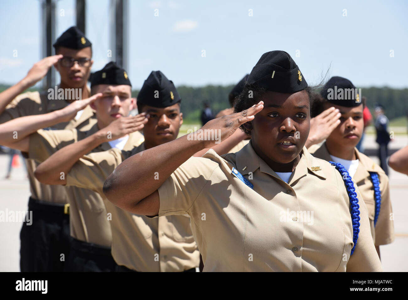 The Dreher High School IDR Platoon Unarmed team from Columbia, S.C. competes during the annual Top Gun Drill Meet at McEntire Joint National Guard Base, S.C., April 28, 2018. High School junior ROTC cadets from across the state competed in drill and ceremony events sponsored by the South Carolina Air National Guard. (U.S. Air National Guard photo by Senior Master Sgt. Edward Snyder) - Stock Image