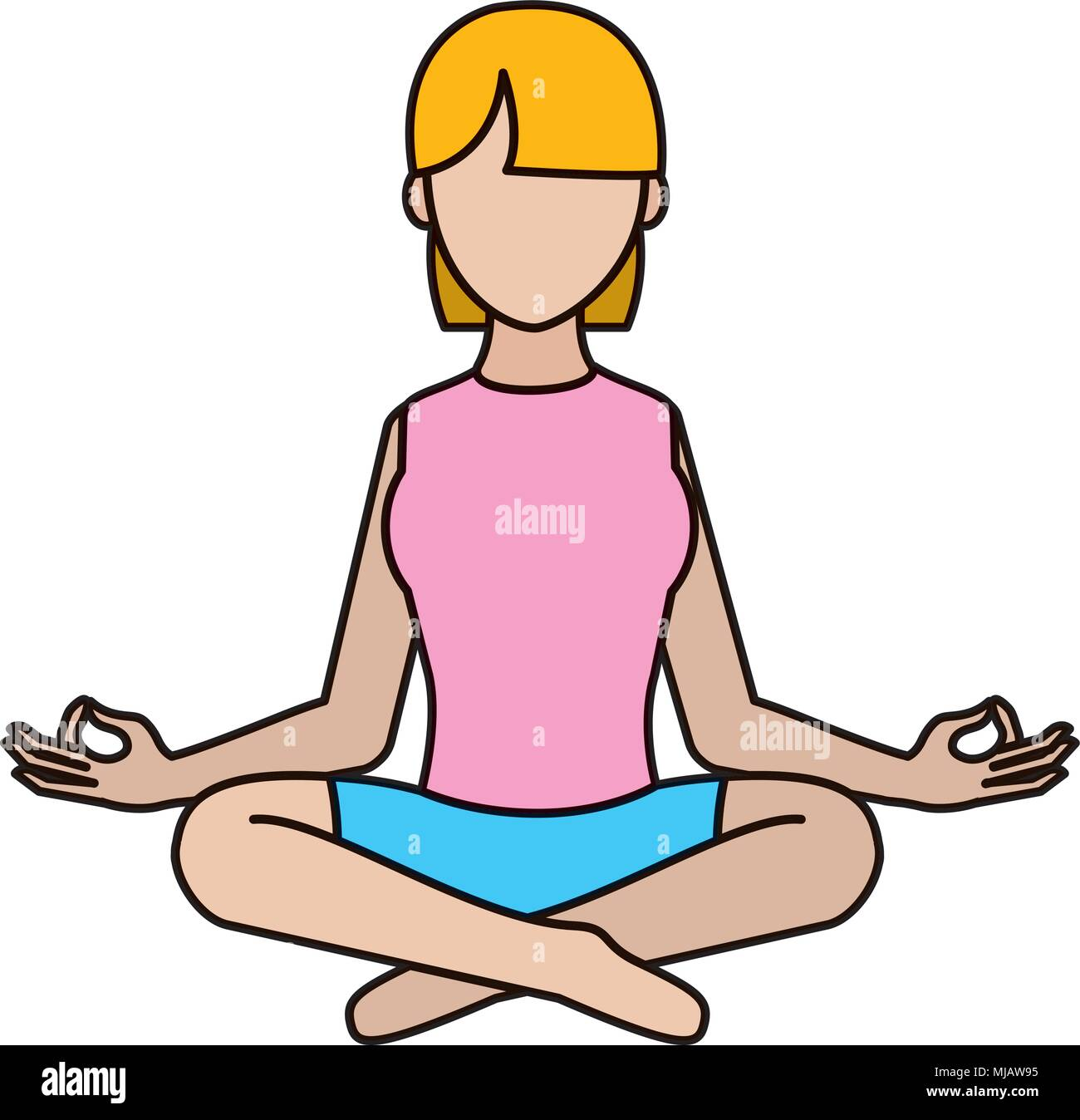 color woman sitting with yoga relaxation position - Stock Vector