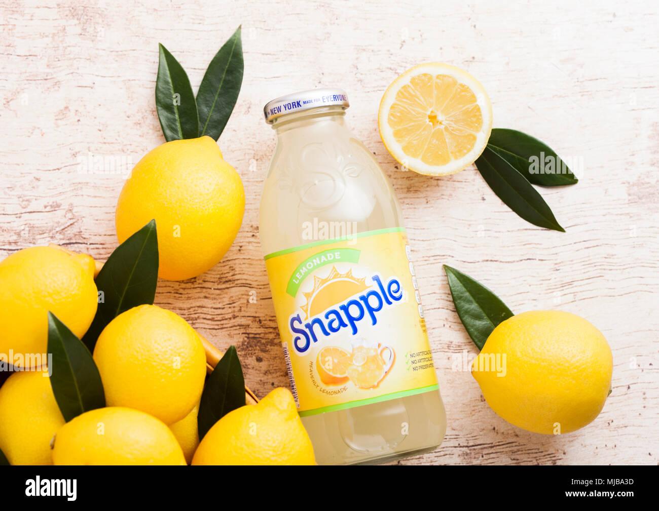 LONDON, UK - APRIL 27, 2018: Bottle of Snapple lemon juice on wooden