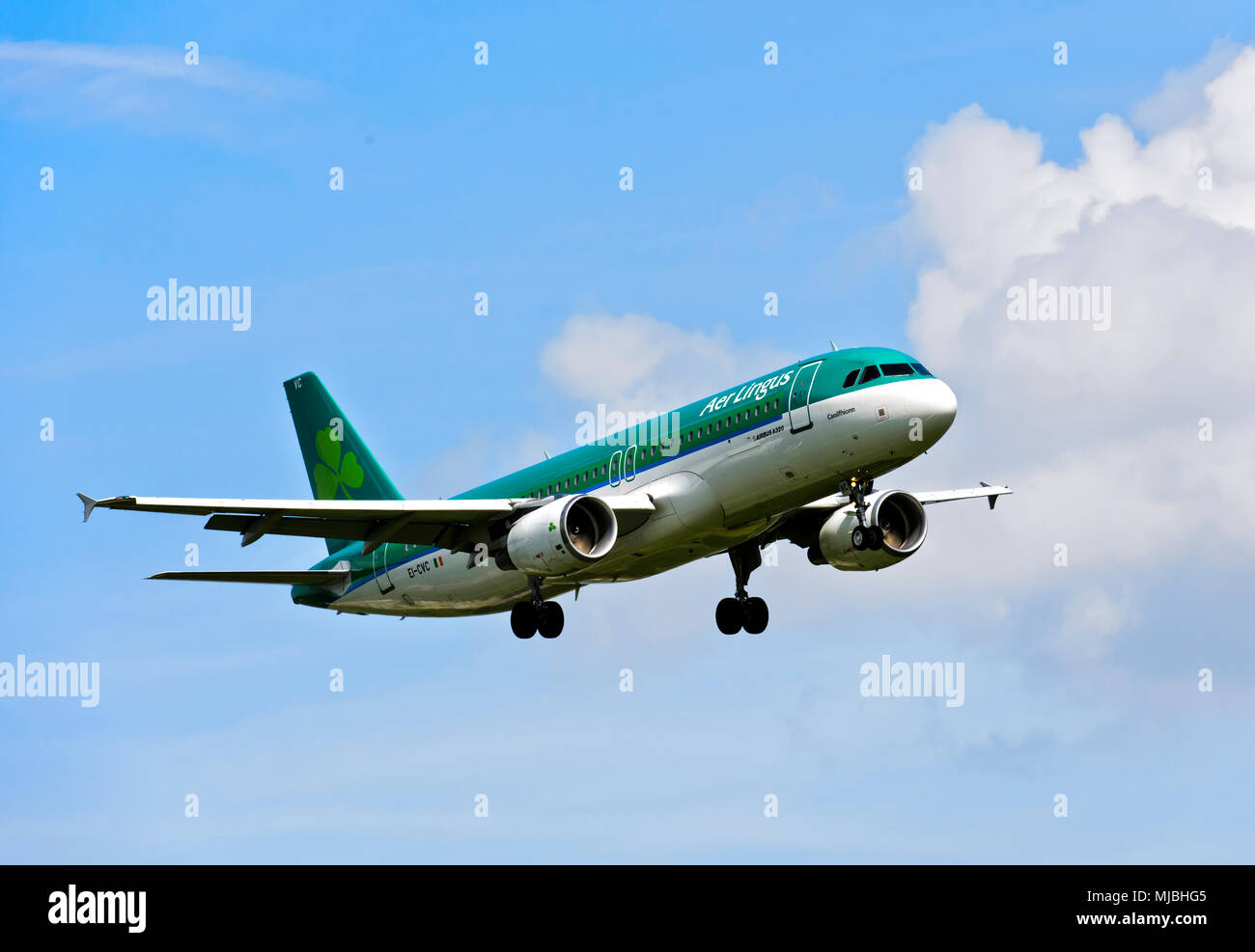 Air Lingus Airbus A320-214 approaching Geneva airport, Switzerland - Stock Image