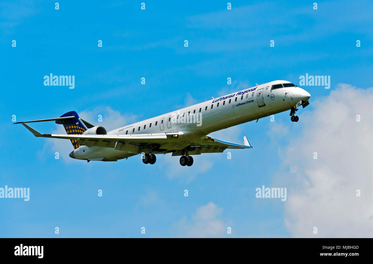 Lufthansa Regional Bombardier CRJ900 NextGen, Germany - Stock Image