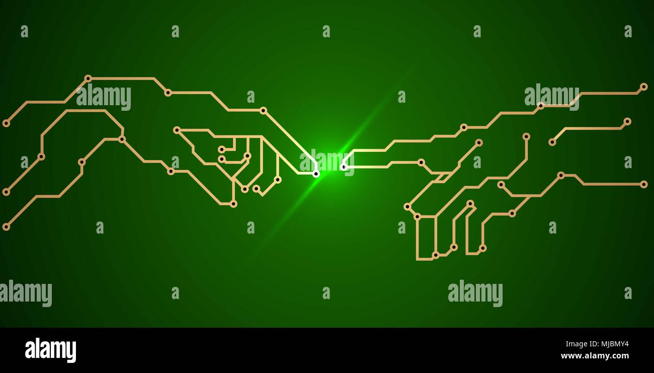 Pcb Board Art Stock Photos Images Alamy Printed Circuit 13 Royalty Free Image Green Conductors And Contact Pads In The Form Of