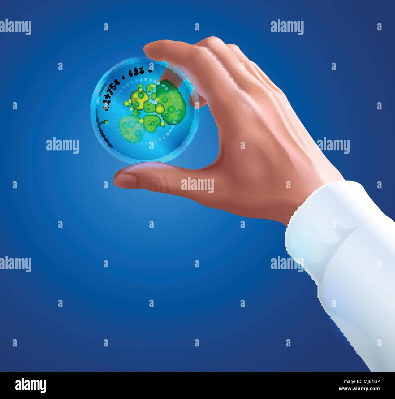 Hand of a scientist in white coat holding Petri dish with colony of bacteria or fungi. Biotechnology or Microbiology concept. Science experiment. Roun - Stock Vector