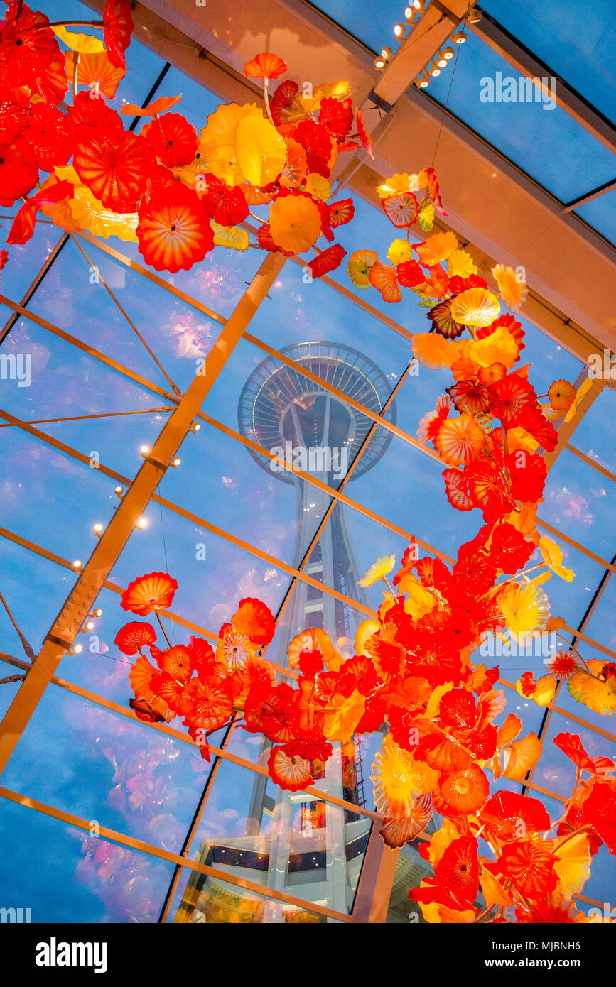 Space Needle seen through Glasshouse, Chihuly Garden and Glass, Seattle, Washington State, USA - Stock Image