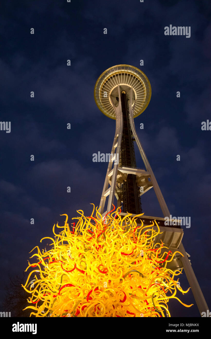 Space Needle, and Chihuly Glass installation, Seattle Centre, Seattle, Washington State, USA - Stock Image