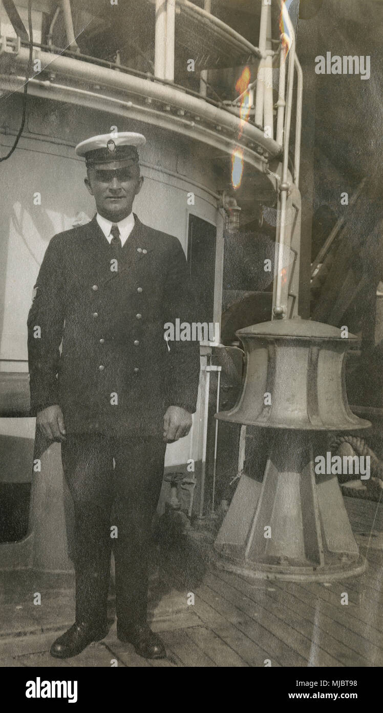 antique c1922 photograph  view aboard the cable ship uscg