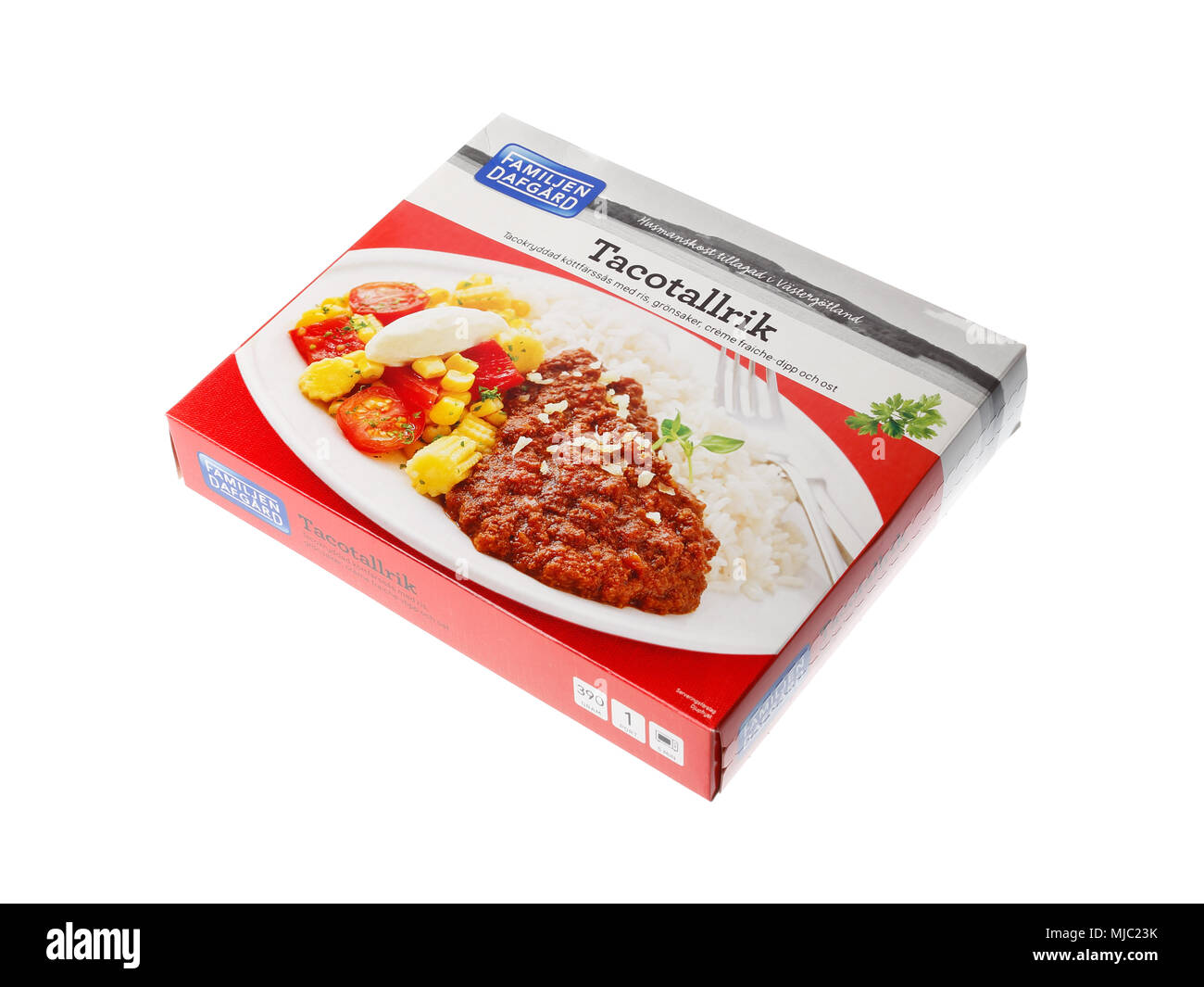Stockholm, Sweden - May 5, 2016: A package of taco microwave meal frozen in a carton package produced by the brand Dafgards for the Swedish market. - Stock Image