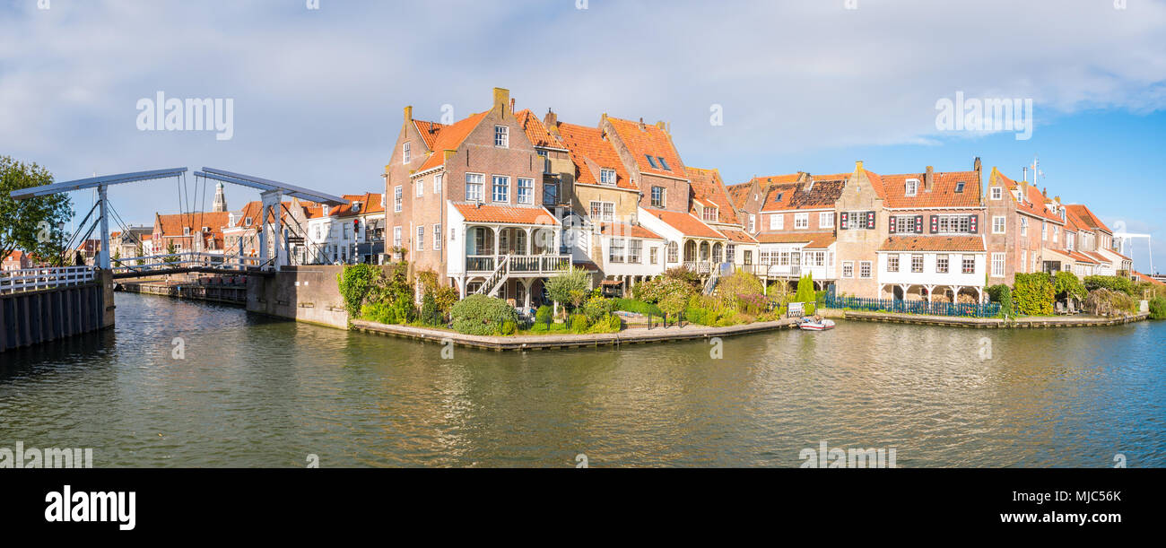 Panorama of houses and draw bridge in historic old town of Enkhuizen, Noord-Holland, Netherlands - Stock Image