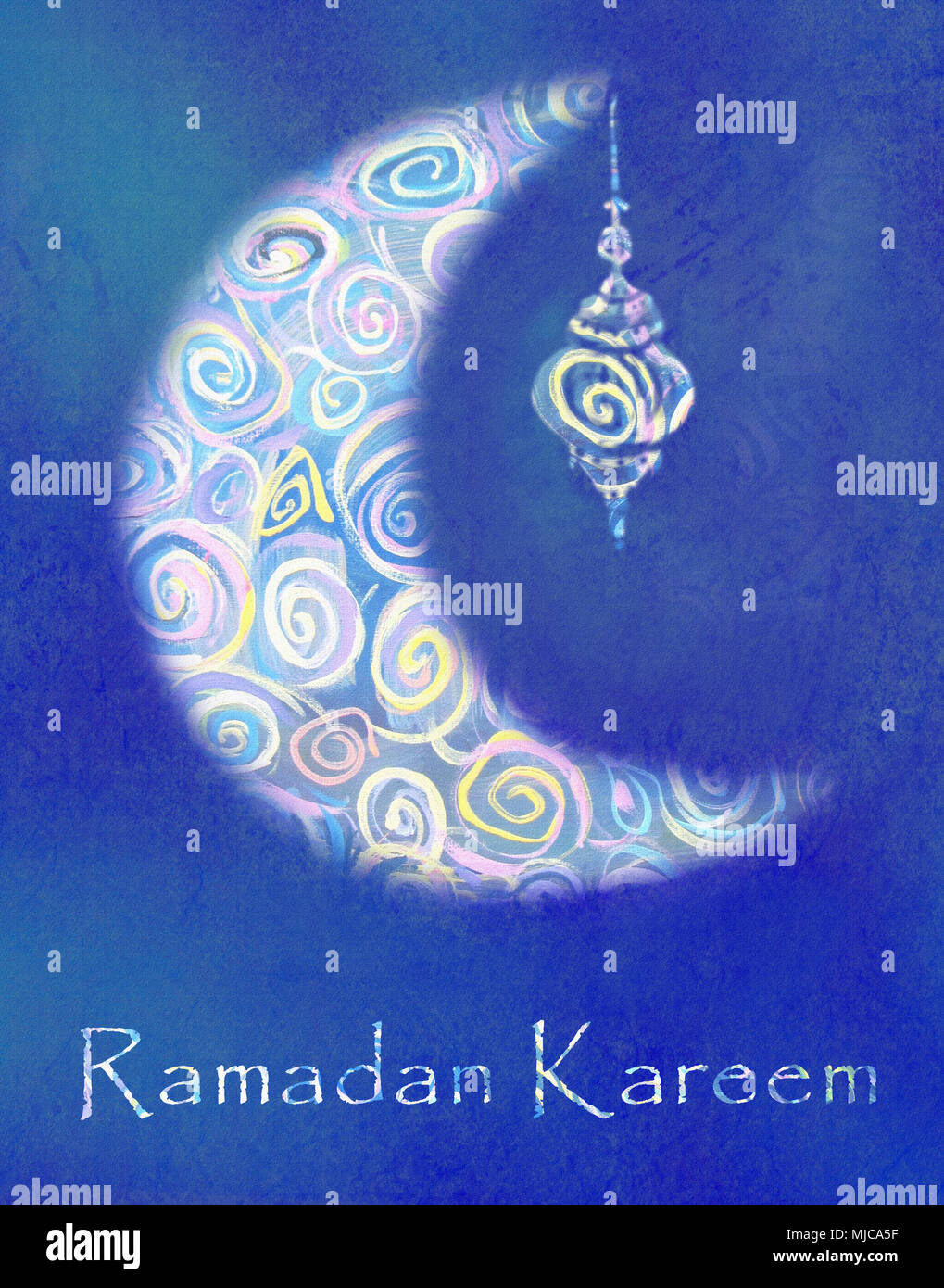 Greeting card of holy muslim month ramadan ornate crescent moon greeting card of holy muslim month ramadan ornate crescent moon with arabic lamp or lantern and stylish text on blue background m4hsunfo