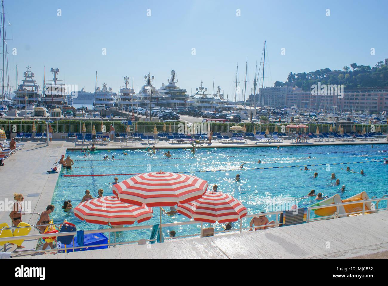 Bathing people in stade nautique Rainier in Monaco, Monte-Carlo Stock Photo