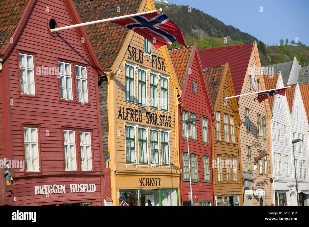 Bergen in Norwegen - Stock Image