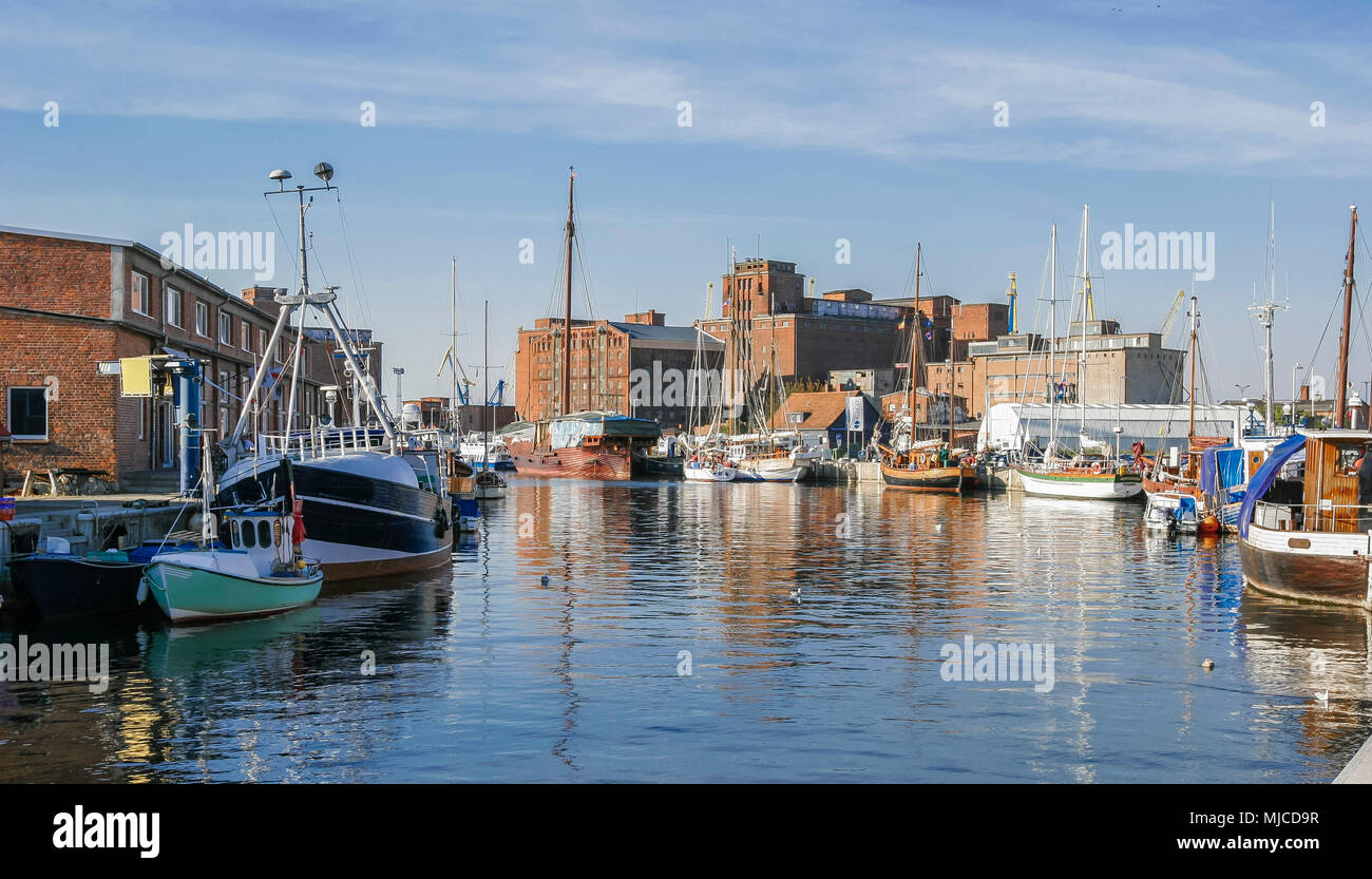 Brickstone architecture in the harbour of wismar, Mecklenburg-Vorpommern,Germany - Stock Image