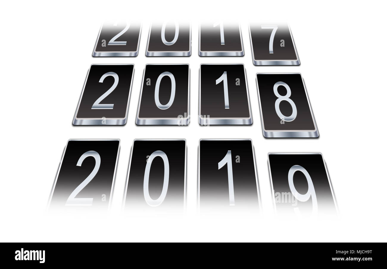 Turn of the year in 2017, 2018, in 2019, New Year's Eves, New Year - Stock Image
