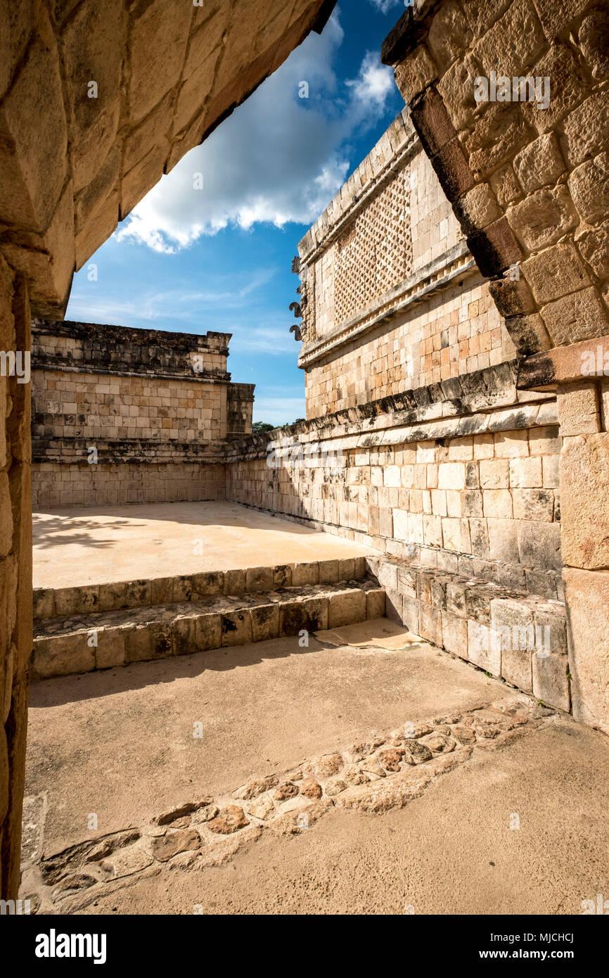 Maya ruin complex of Uxmal in Puuc route in Yucatan Mexico Stock Photo