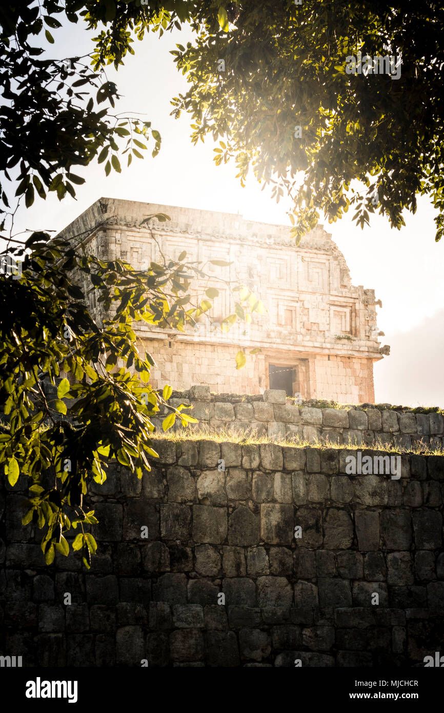 Maya ruin complex of Uxmal in Puuc route in Yucatan Mexico Stock Photo