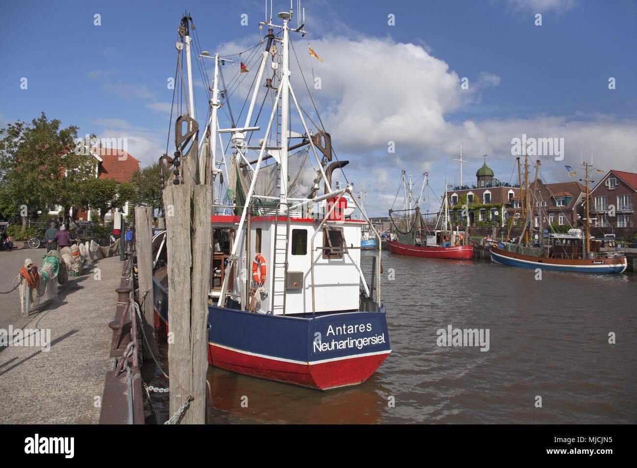 Fishing trawler in the harbour of Neuharlingersiel, Lower Saxony, North Germany, Germany, Europe, Stock Photo