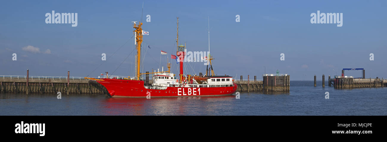Lightship the Elbe 1 at 'Alte Liebe' Cuxhaven, Lower Saxony, Germany, Europe, - Stock Image