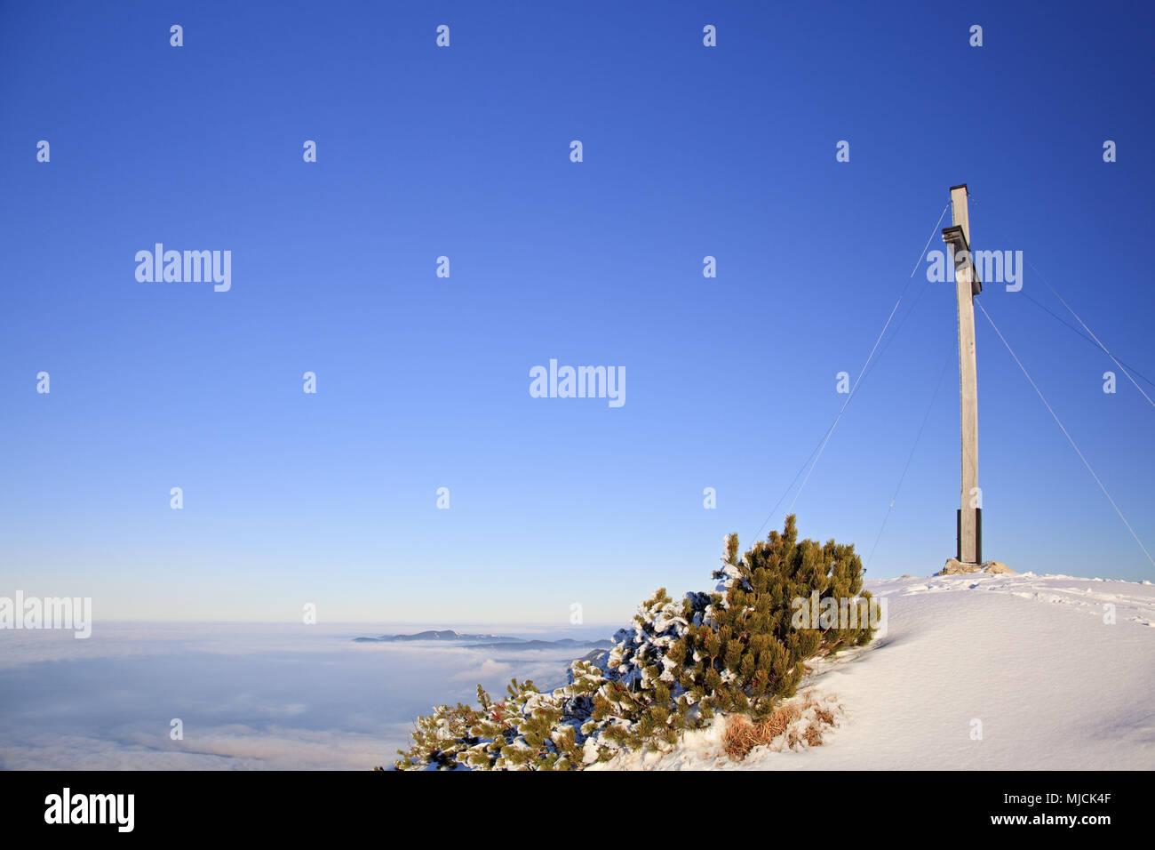 Summit cross on the Herzogstand, Bavarian Alpine Foreland, alps, Alpine foreland, Bavarian uplands, Upper Bavaria, Bavaria, South Germany, Germany, - Stock Image