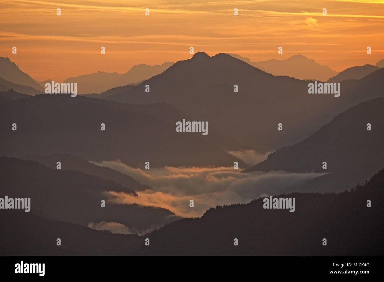 View of the Herzogstand to Tyrol, Schneidjoch, Bavarian Alpine Foreland, Alpine foreland, alps, Bavarian uplands, Upper Bavaria, Bavaria, South Germany, Germany, - Stock Image