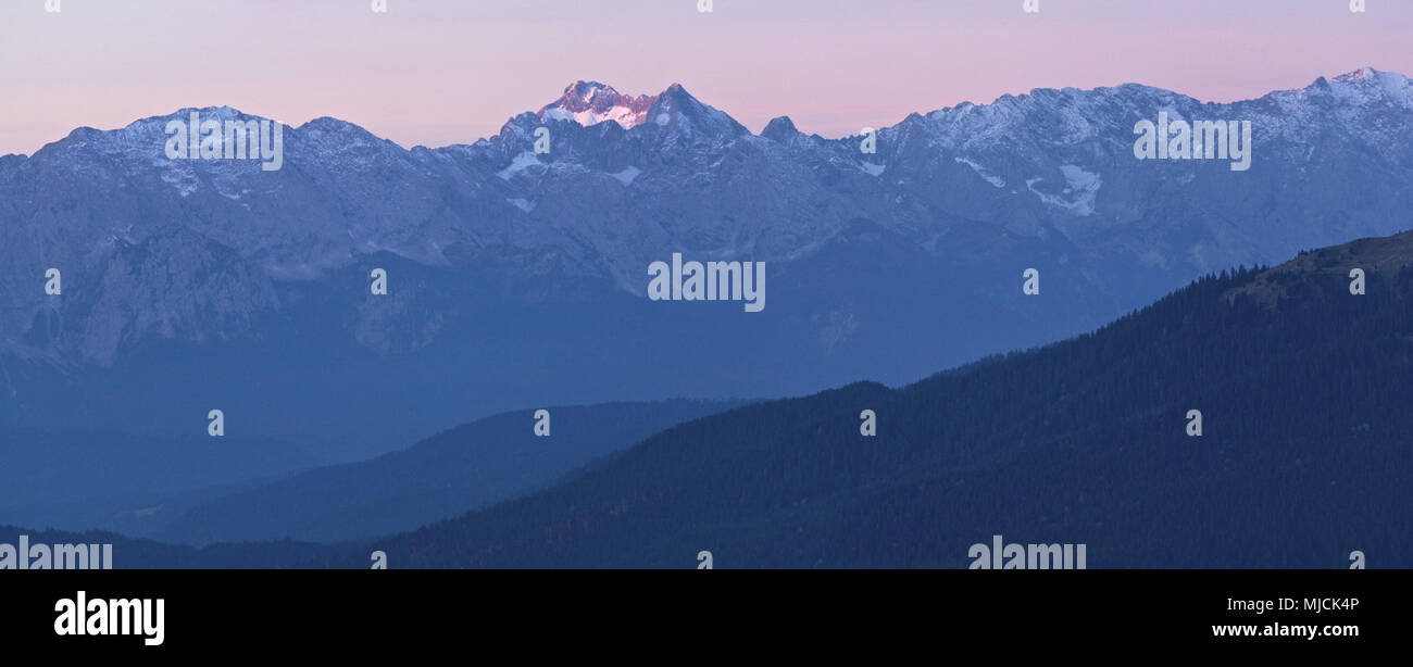 View of the Herzogstand to Wetterstein Range, Bavarian Alpine Foreland, Alpine foreland, alps, Bavarian uplands, Upper Bavaria, Bavaria, South Germany, Germany, - Stock Image