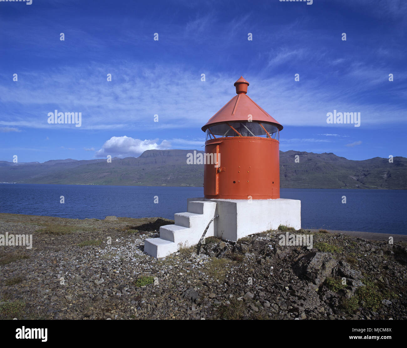 Lighthouse in the East fjords, Iceland, - Stock Image