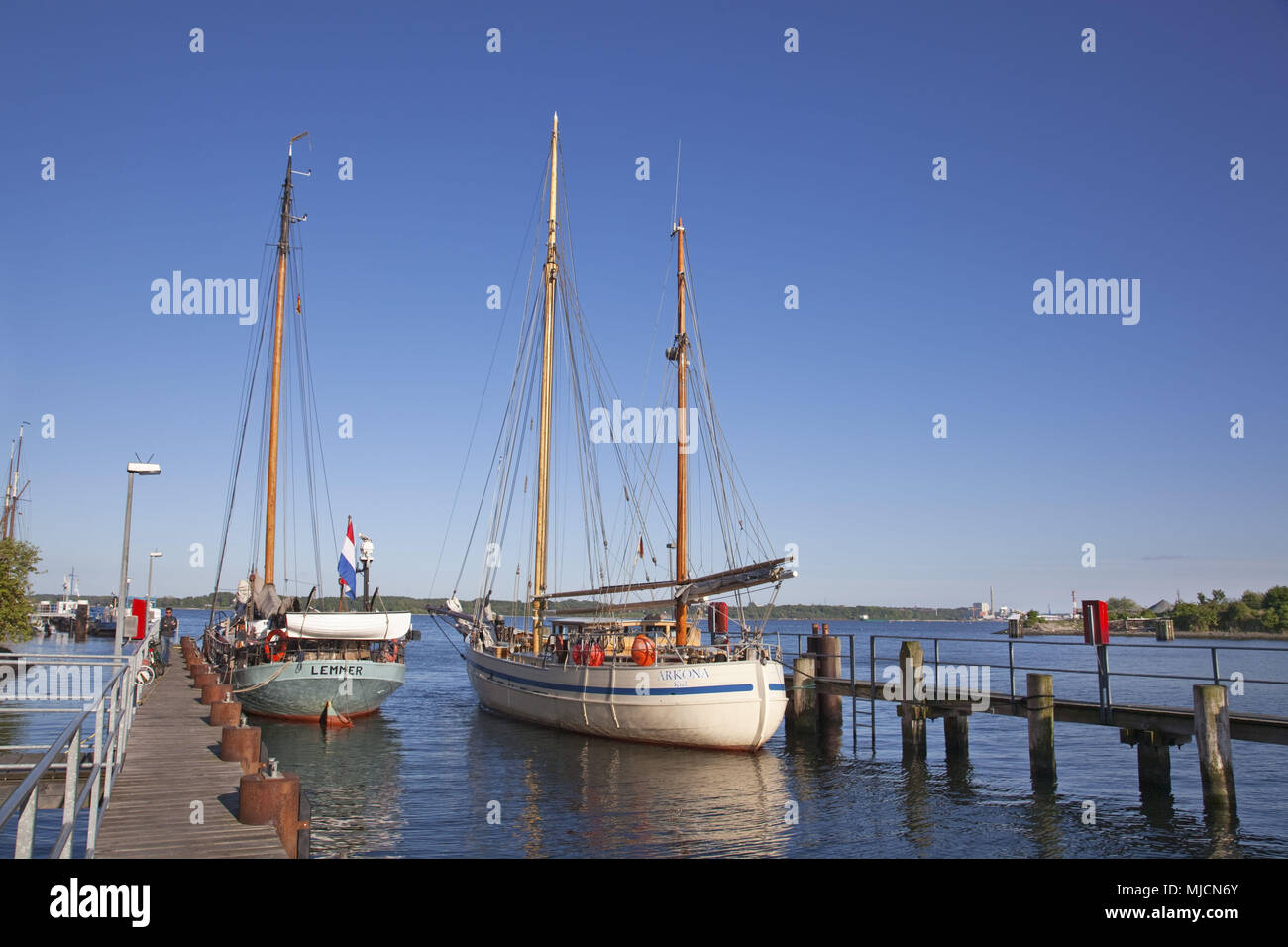 Sailboat in the harbour of Kiel, Holtenau, Schleswig - Holstein, North Germany, Germany, - Stock Image
