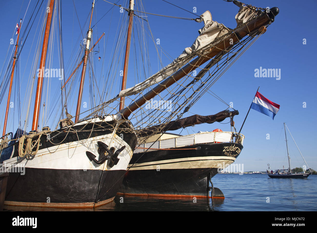 Sailboats in the harbour of Kiel, Holtenau, Schleswig - Holstein, North Germany, Germany, - Stock Image