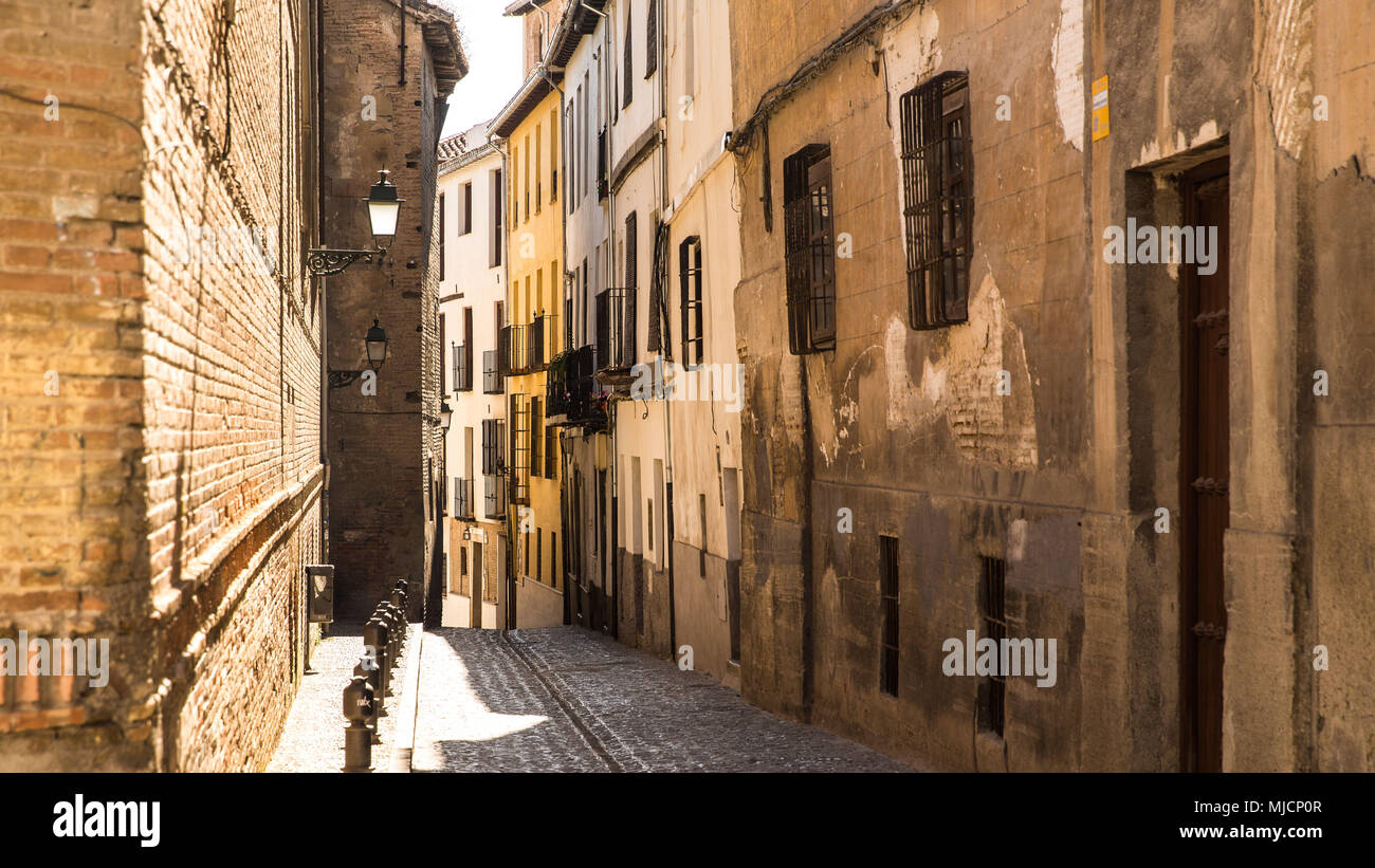 Europe, Spain, Andalusia, Granada, Old Town lane Stock Photo