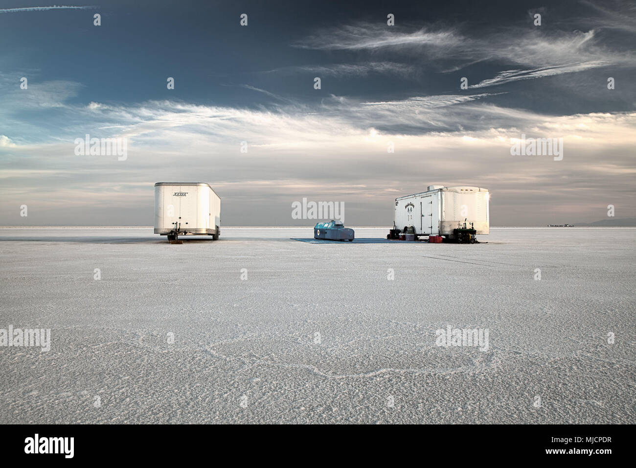 Racing car, Bonneville Speed Week, Great Salt Lake, Utah, USA, trailers Stock Photo