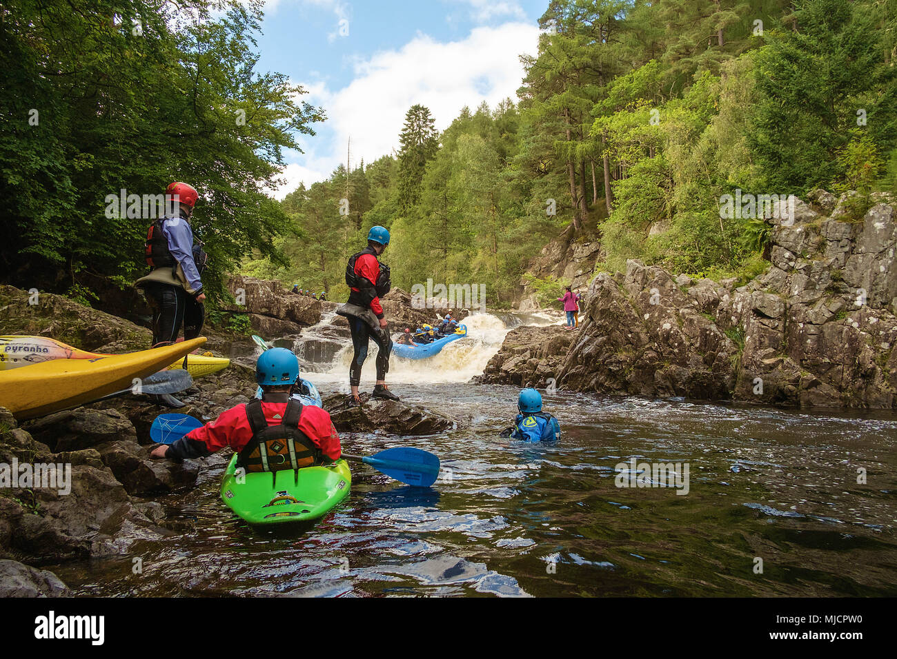 With the kayak on the Loch Dunmore, Pitlochry, Tayside, Scotland, - Stock Image