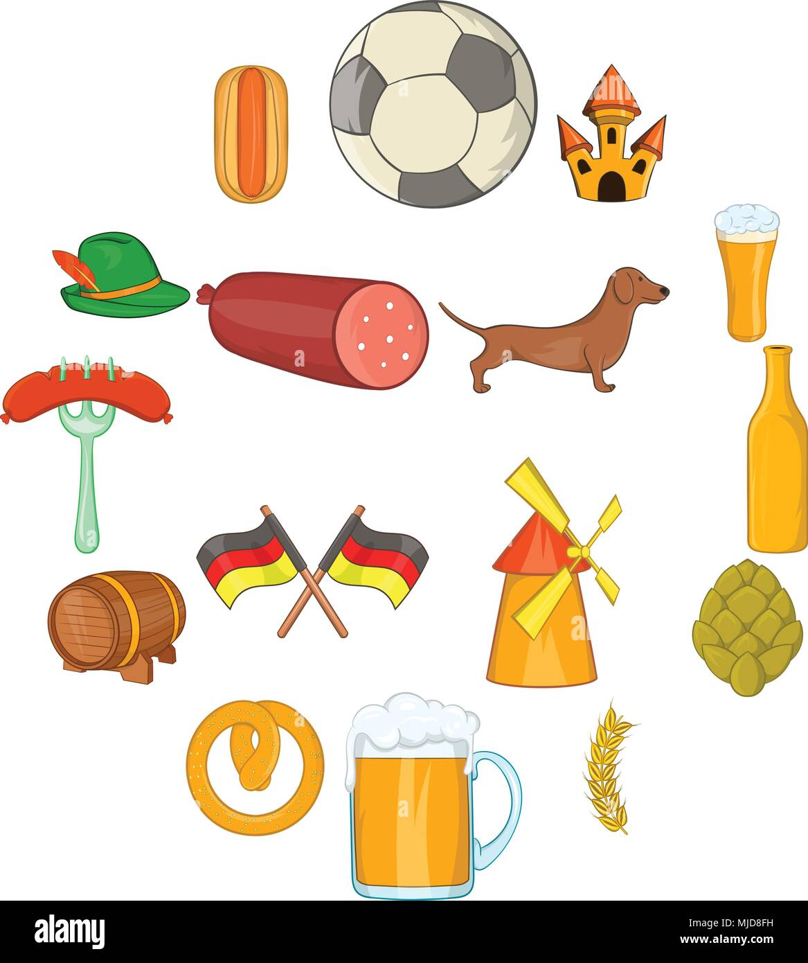 Germany icons set, cartoon style - Stock Image