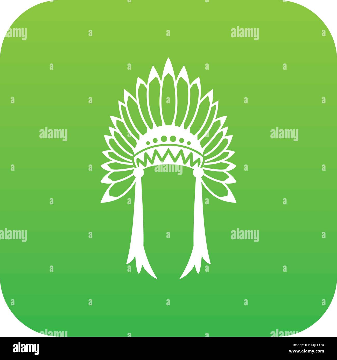 Indian headdress icon digital green - Stock Image