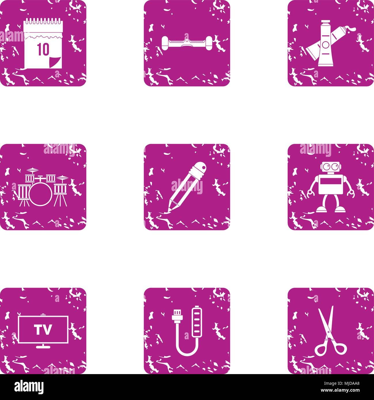 TV program icons set, grunge style - Stock Image