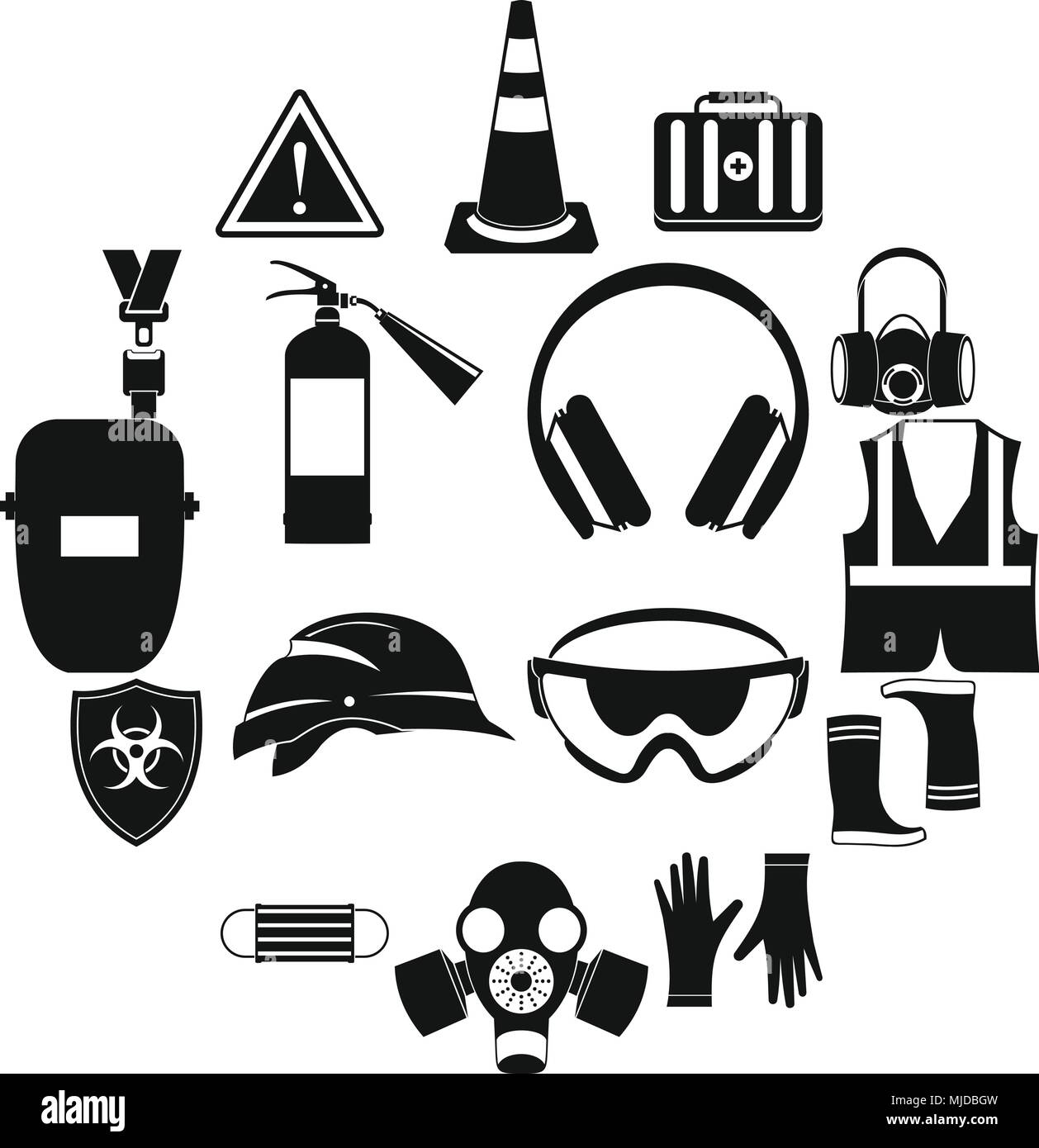 safety icons set simple style stock vector art illustration