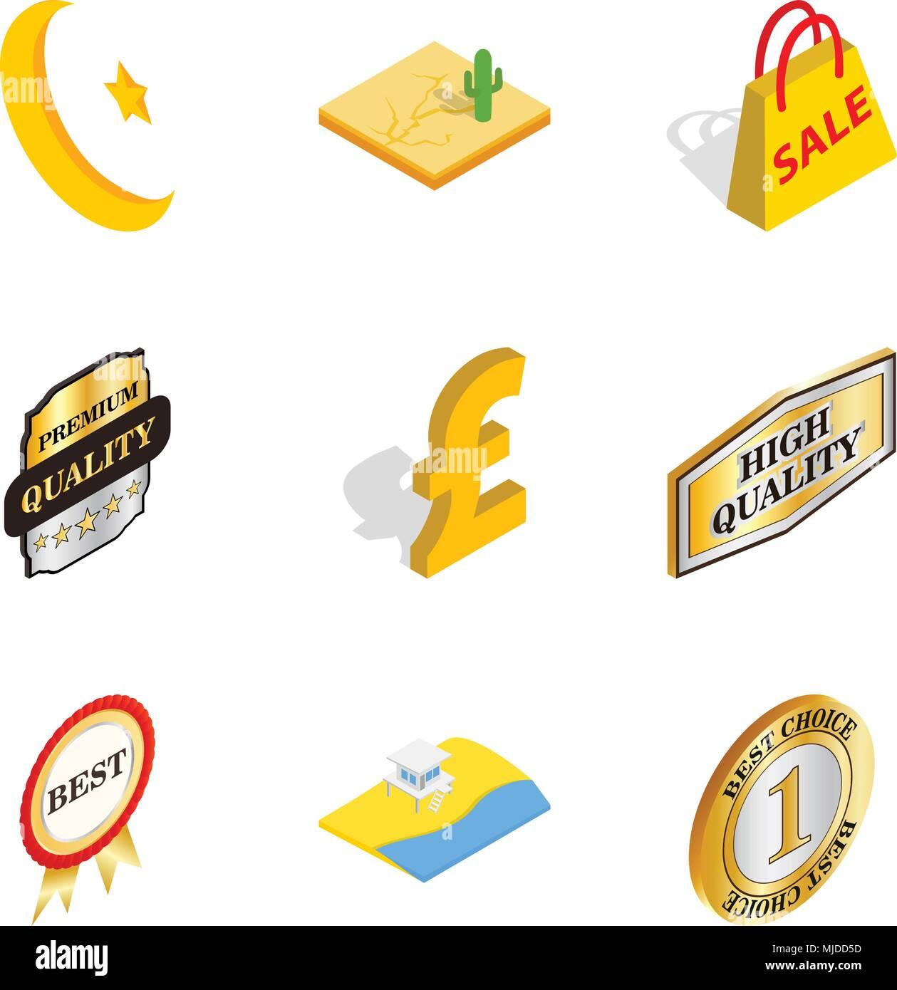 Free world icons set, isometric style Stock Vector