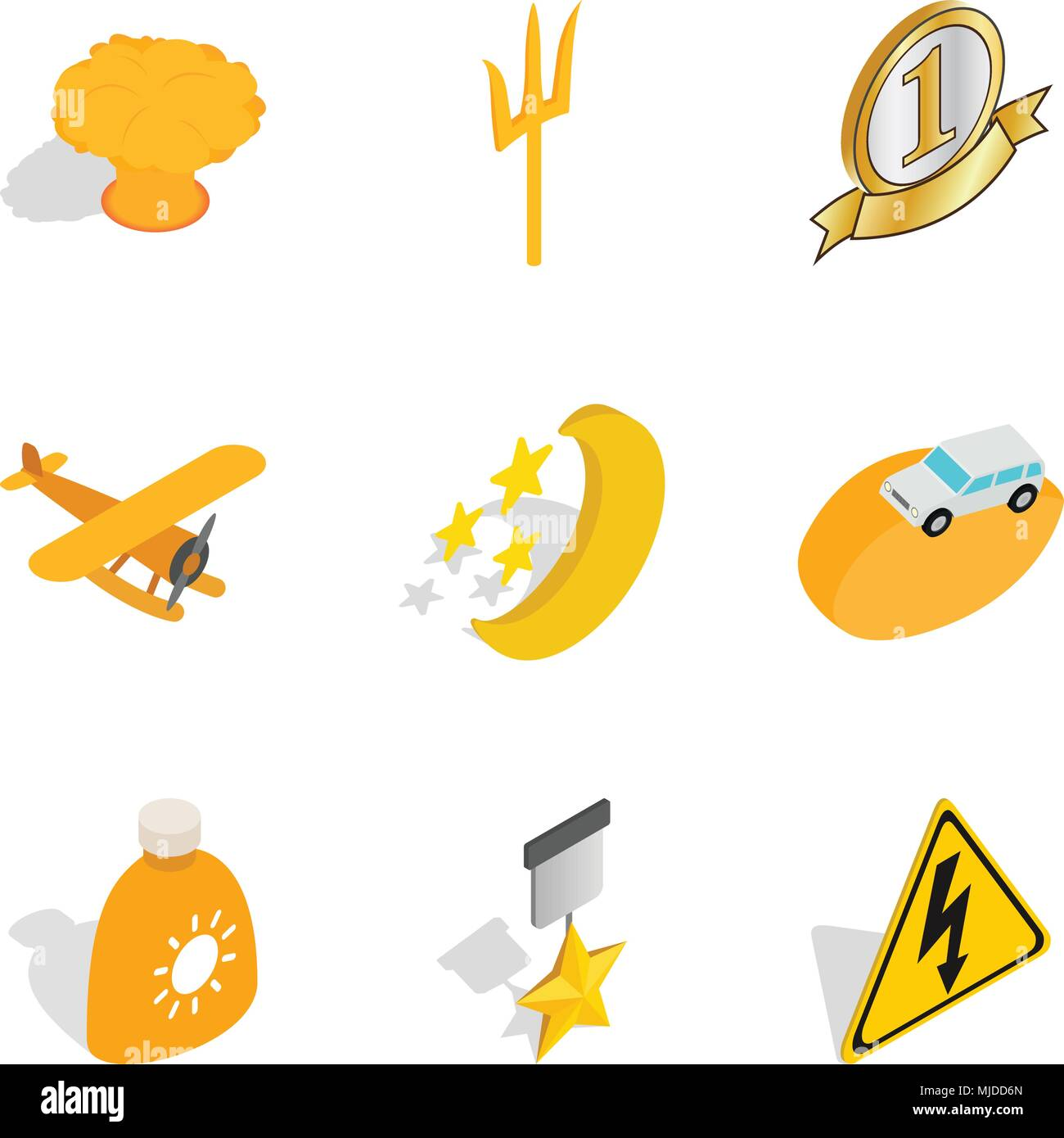 Best place icons set, isometric style Stock Vector