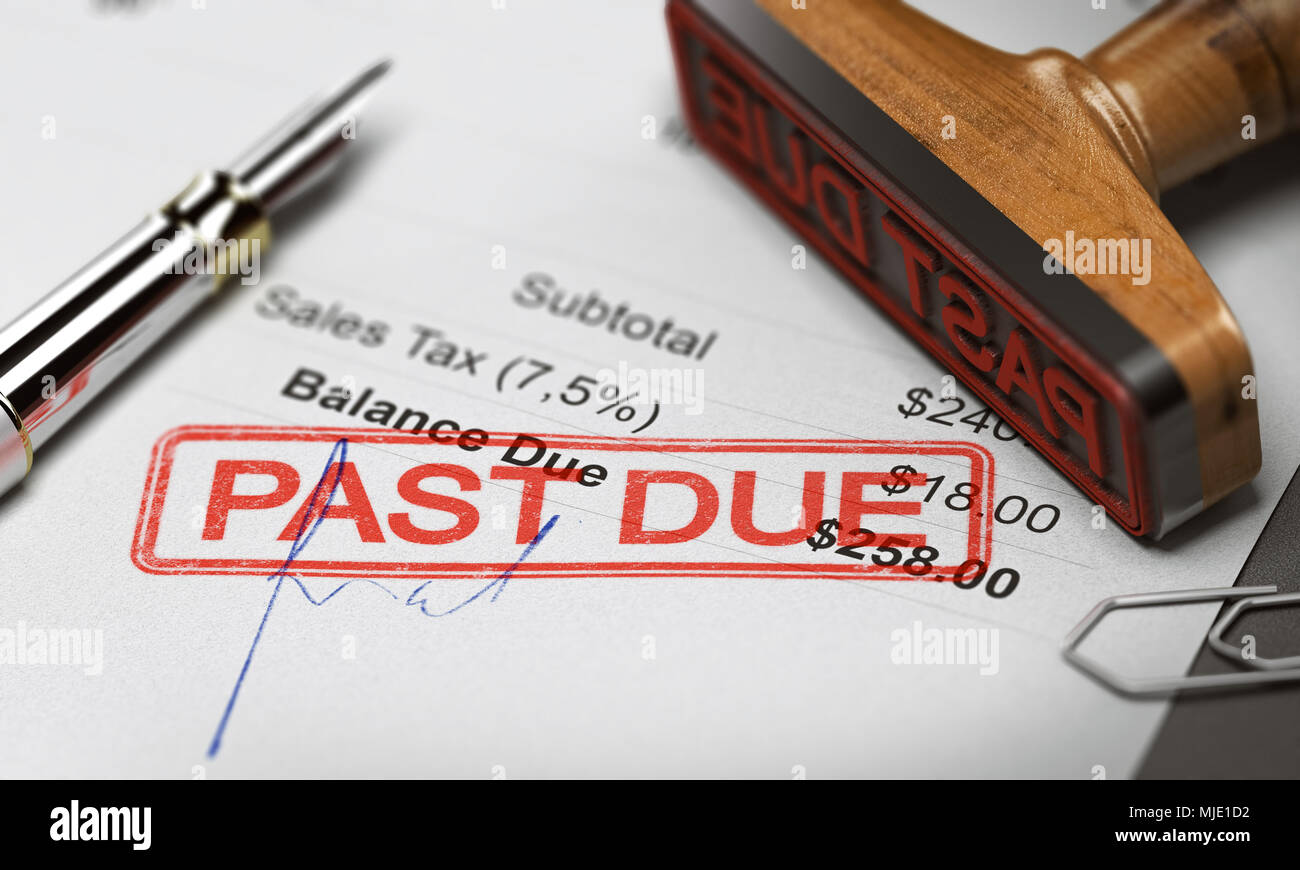 Rubber stamp with the text past due over an invoice document. 3D illustration. Concept of unpaid debt recovery. - Stock Image