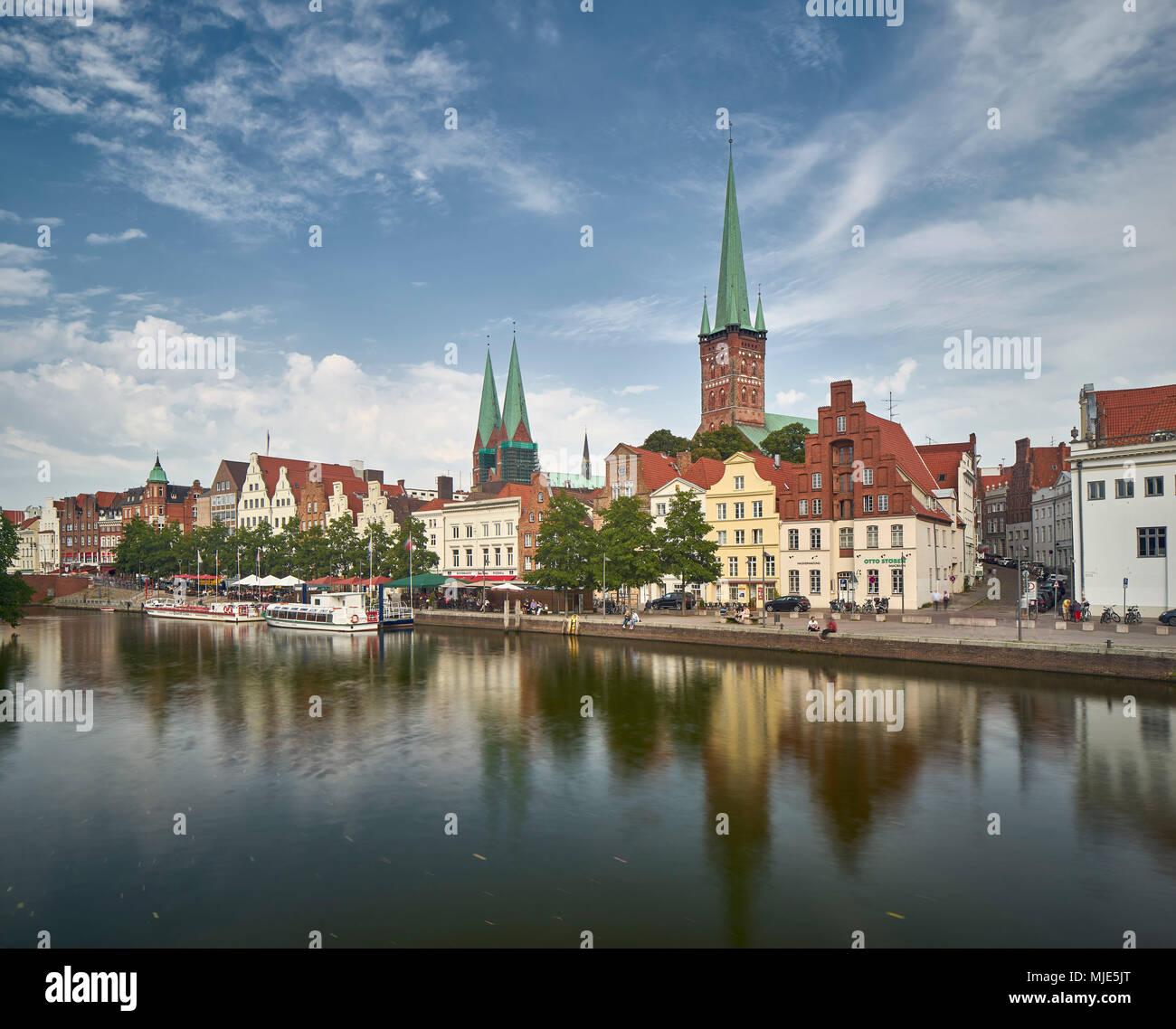 St. Mary's Church, Petrikirche (church), Trave, Lübeck, Schleswig - Holstein, Germany - Stock Image