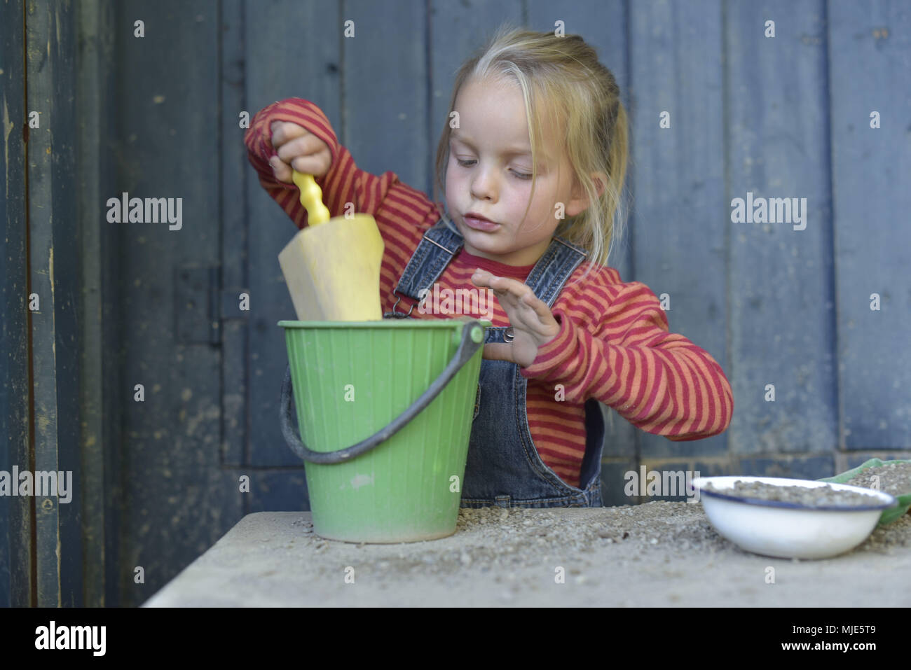 Girl, Sand toys, concentrate, - Stock Image