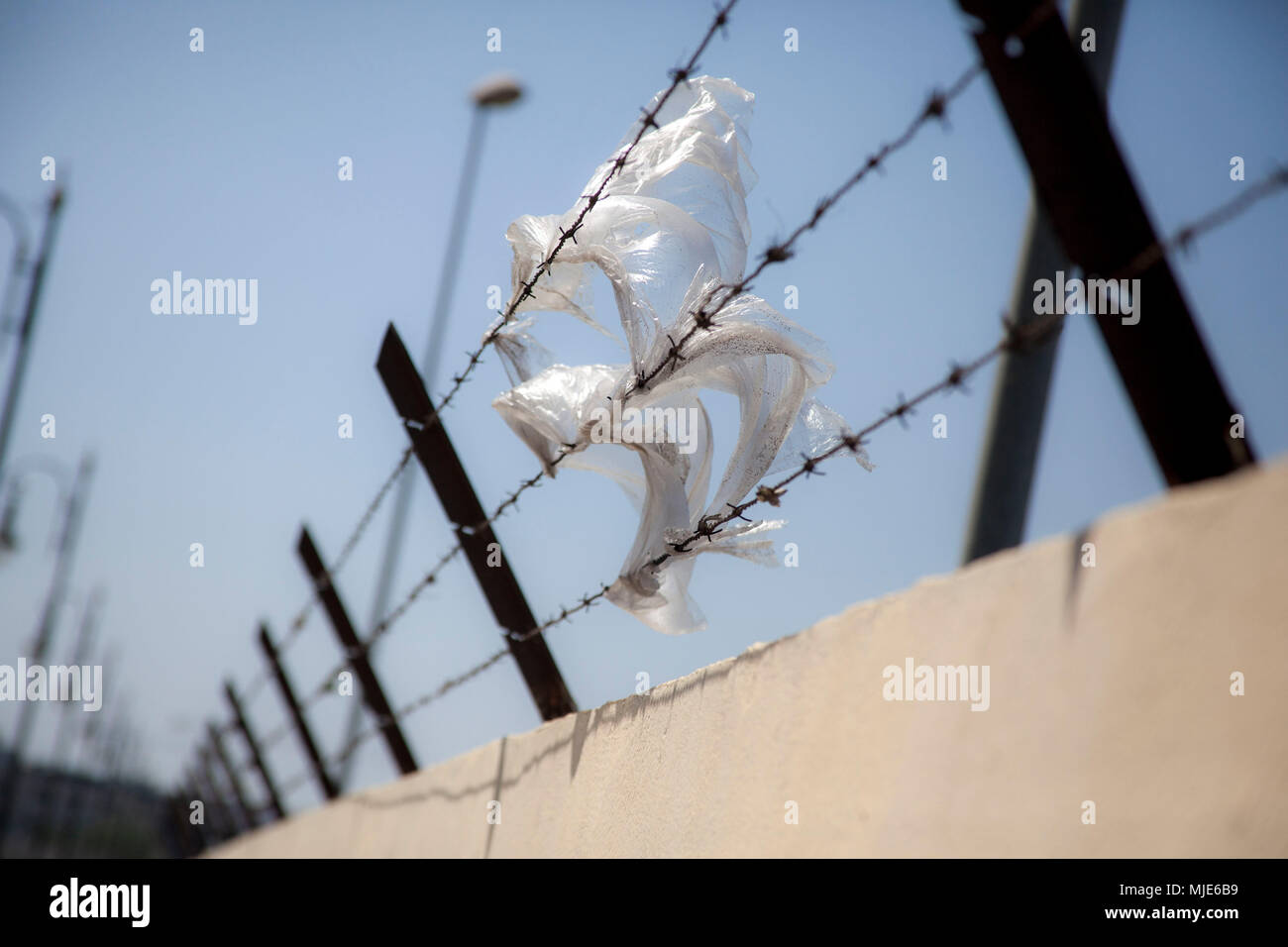 Morocco, Tangier, barbed wire fence, plastic sheet, detail, - Stock Image