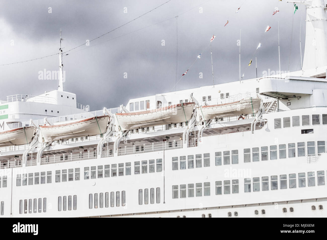 Old passenger ship in the Port of Rotterdam - Stock Image