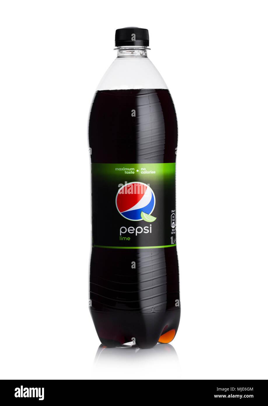 london uk april 27 2018 bottle of pepsi cola lime soft drink on