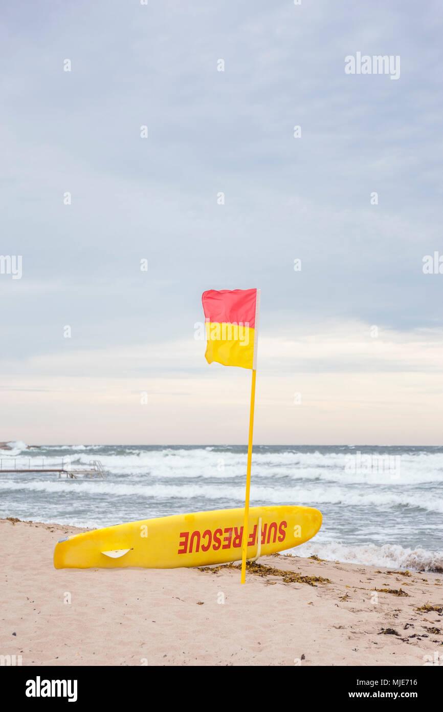 lifeguard on the beach of Sandvig, behind the stormy Baltic Sea, Europe, Denmark, Bornholm, Stock Photo