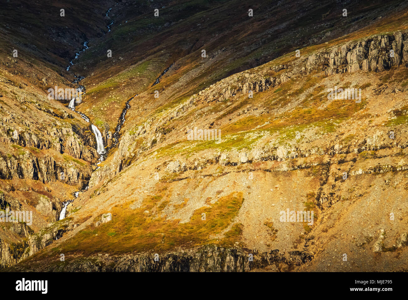 Mountain landscape close Breiddalsvik, extreme close-up - Stock Image