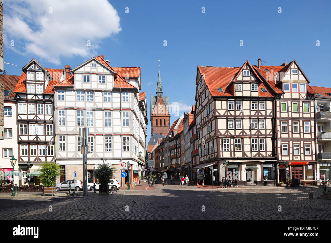 Old town with half-timbered houses and Market Church am Holzmarkt with a view to Kramerstrasse, Hannover, Lower Saxony, Germany, Europe - Stock Image