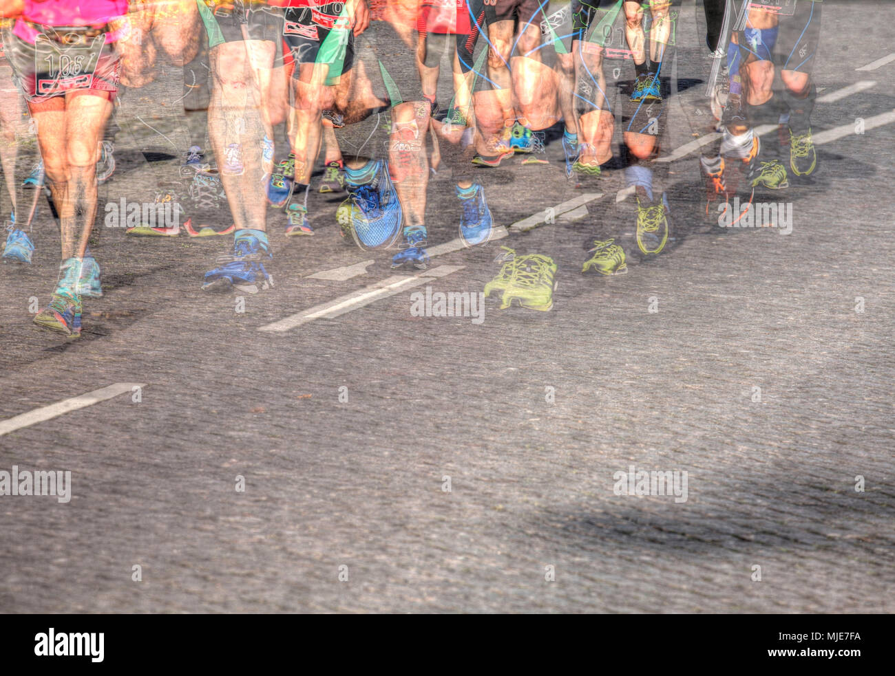 Runners on the Bremen Marathon, Bremen, Germany, Europe - Stock Image