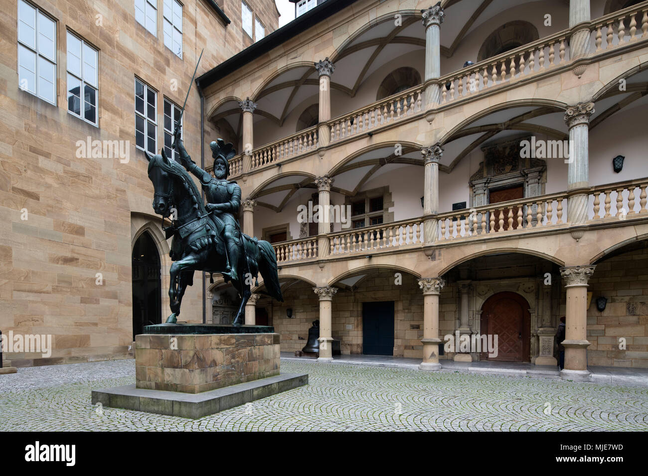 Equestrian statue Graf Eberhard im Bart in the inner courtyard of the old castle, Stuttgart, Baden-Wurttemberg, Germany - Stock Image